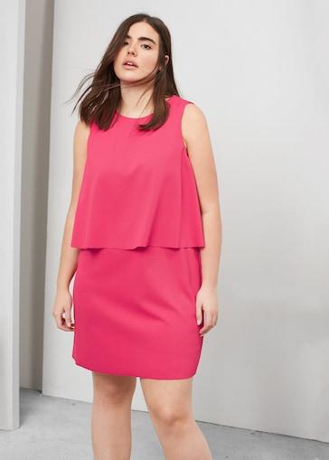 vestidos de fiesta- talla grande rosa dos capas